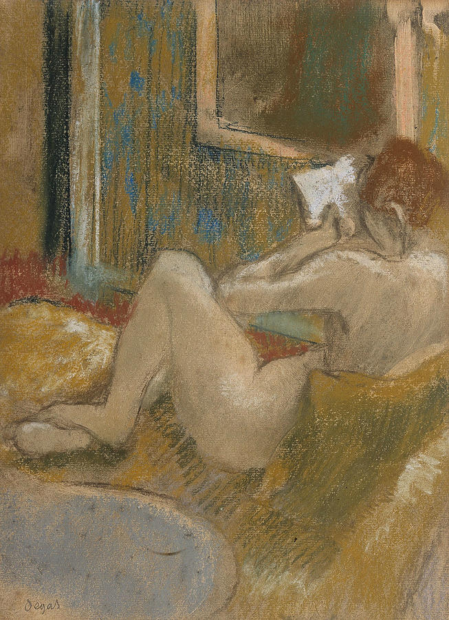 French Painters Pastel - The Reading Light by Edgar Degas