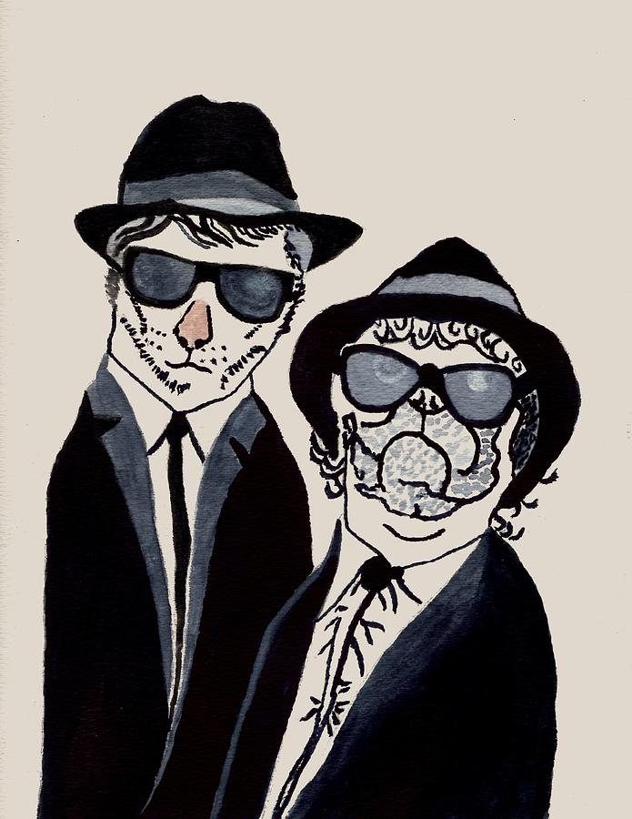Blues Brothers Cat And Dog Painting - The Real Blues Brothers by Connie Valasco