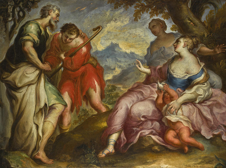 Venetian School Painting - The Reconciliation of Jacob and Laban by Venetian School