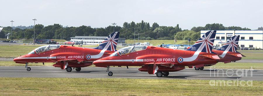 Hawk T1 Digital Art - The Red Arrows Panoramic by Nigel Bangert