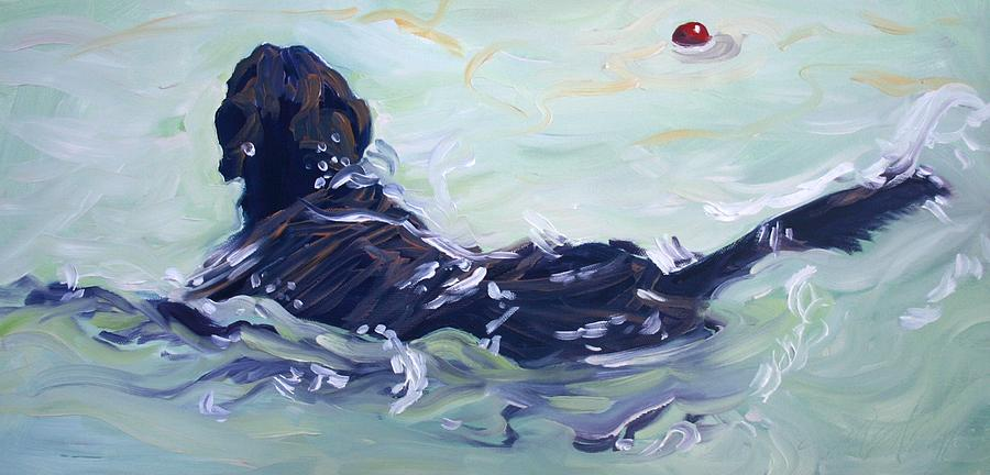 Chocolate Lab Painting - The Red Ball by Sheila Wedegis
