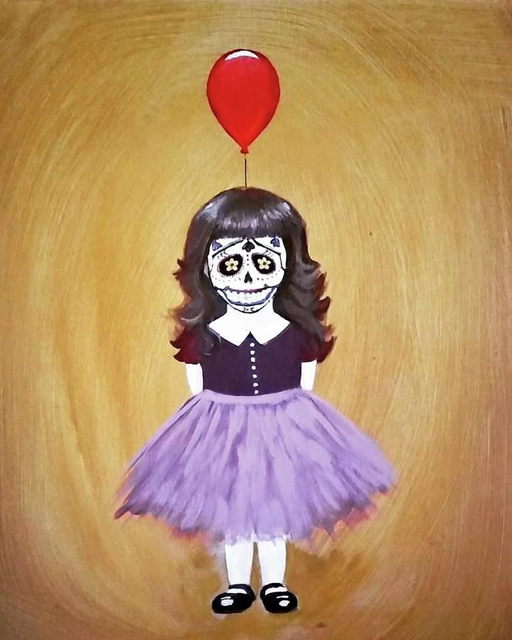 Day Of The Dead Painting - The Red Balloon by Carole Hutchison