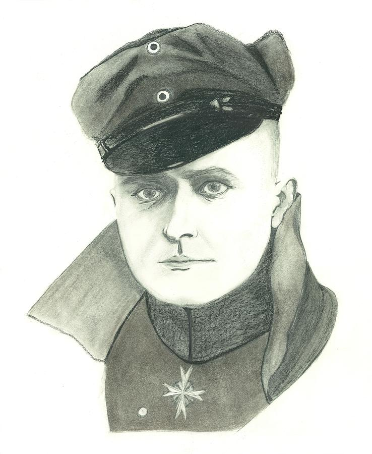 The Red Baron Drawing - The Red Baron by Seventh Son