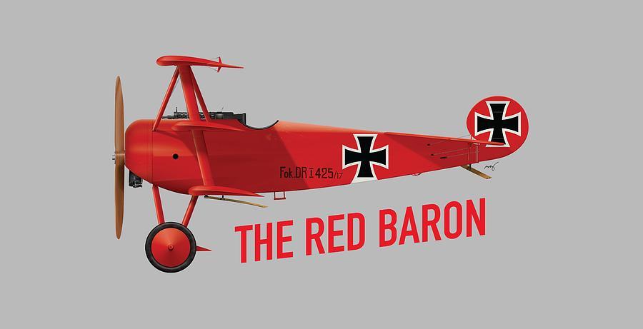 Fokker Digital Art - The Red Barons Fokker Dr.1 - Side Print by Ed Jackson