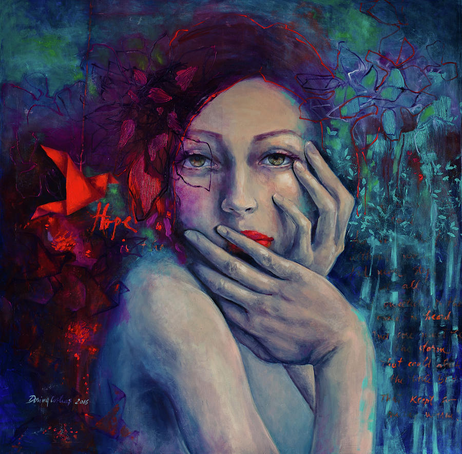 Figurative Painting - The Red Bird by Dorina Costras
