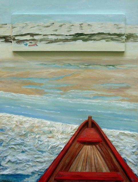 Boats Painting - The Red Boat by Ana Boulain