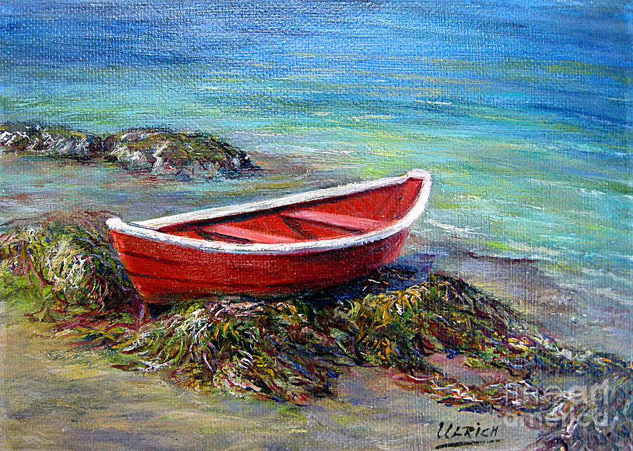 Boat Painting - The Red Boat by Jeannette Ulrich