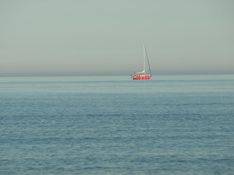 Sea Photograph - The Red Boat by Josie Gilbert