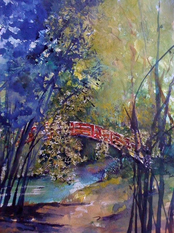 Red Bridge Painting - The Red Bridge by Robin Miller-Bookhout