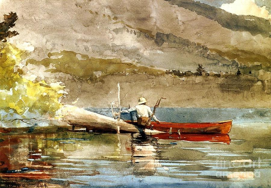 Landscape Painting - The Red Canoe by Pg Reproductions