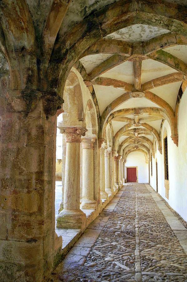 Convent In Portugal Photograph - The Red Door In The Loggia by Kirsten Giving