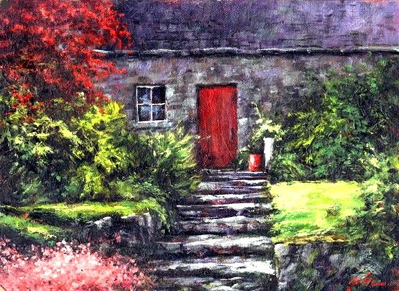Ireland Painting - The Red Door by Jim Gola