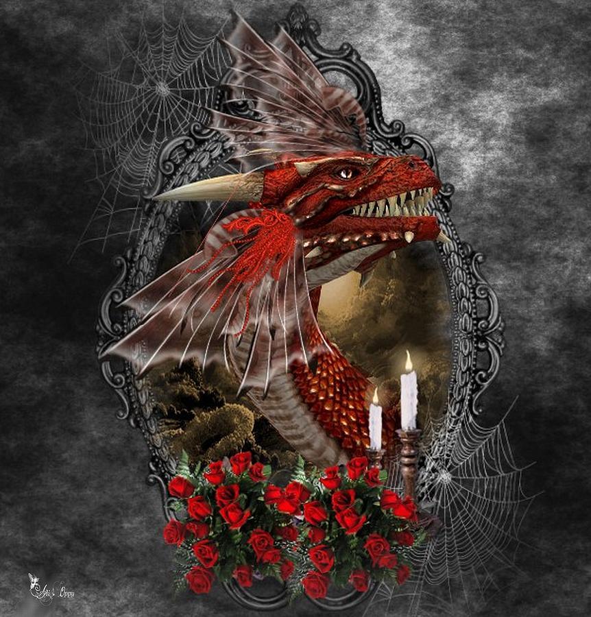 F Digital Art - The Red Dragon by Ali Oppy