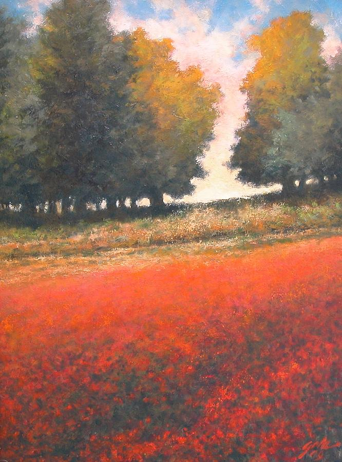 Landscape Painting - The Red Field #2 by Jim Gola