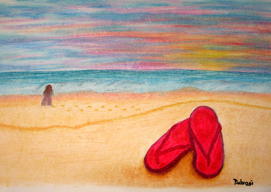The Red Flip Flops Painting By Deborah Rosier