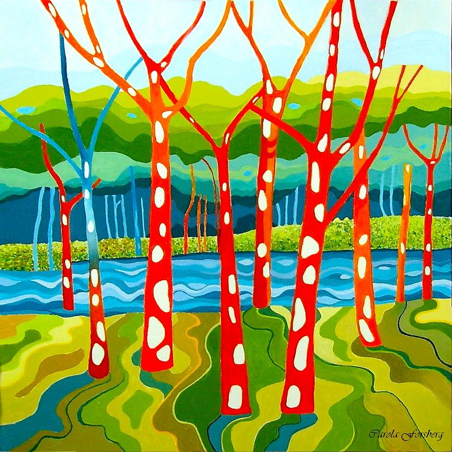 The Red Forest Painting by Carola Ann-Margret Forsberg