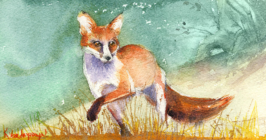 Fox Painting - The Red Fox by Kristina Vardazaryan