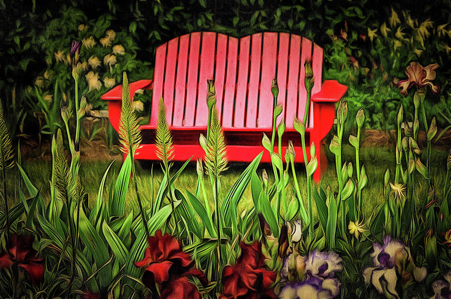 Grass Photograph   The Red Garden Bench By Thom Zehrfeld