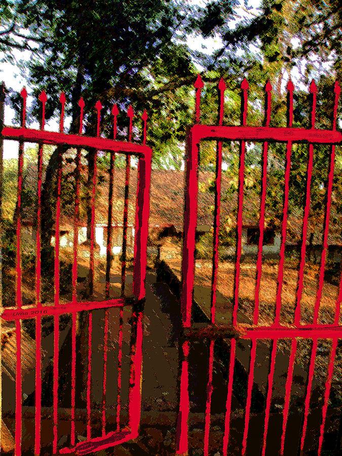 Gate Digital Art - The Red Gate by Uma Krishnamoorthy