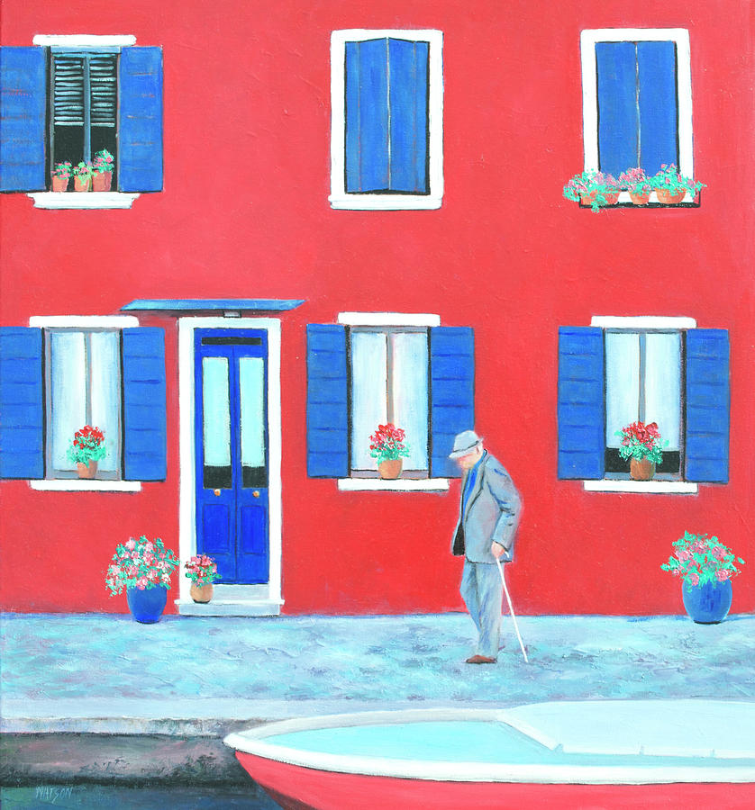 Red House Painting - The Red House On The Island Of Burano by Jan Matson