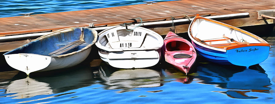 Barbara Snyder Photograph - The Red Kayak Morro Bay California Painting by Barbara Snyder