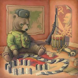 Russian Bear Painting - The Red Menace by Heather Watts