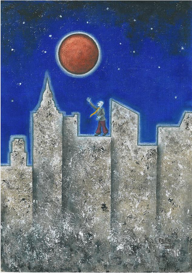 Cityscape Painting - The Red Moon by Graciela Bello