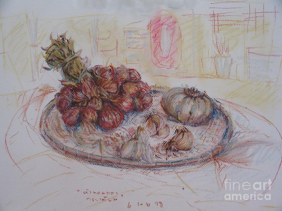 Onion Painting - The Red Onion by Sukalya Chearanantana