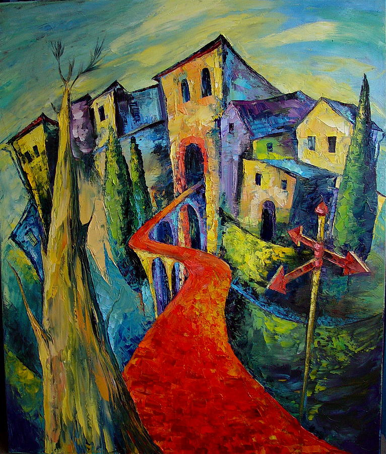 Contemporary Painting - The Red Road by Keren Gorzhaltsan