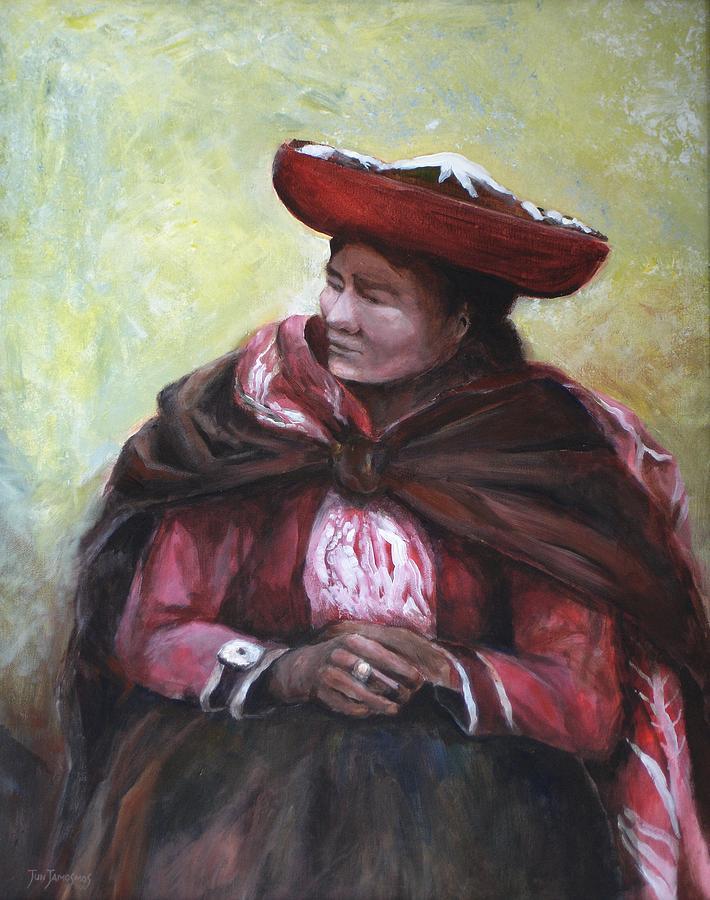 Peru Painting - The Red Shawl  by Jun Jamosmos