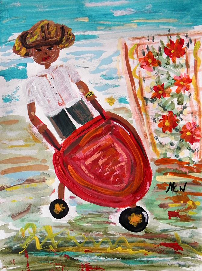 Girl Painting - The Red Steel Barrow by Mary Carol Williams
