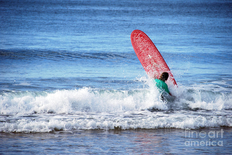 Beach Photograph - The Red Surfboard by Joe Scoppa