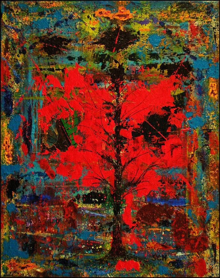 Abstract Mixed Media - The Red Tree -or- Paint by Scott Haley