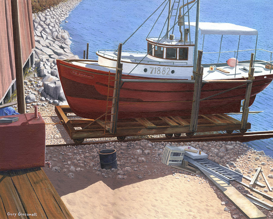 Fishing Boat Painting - The Red Troller by Gary Giacomelli