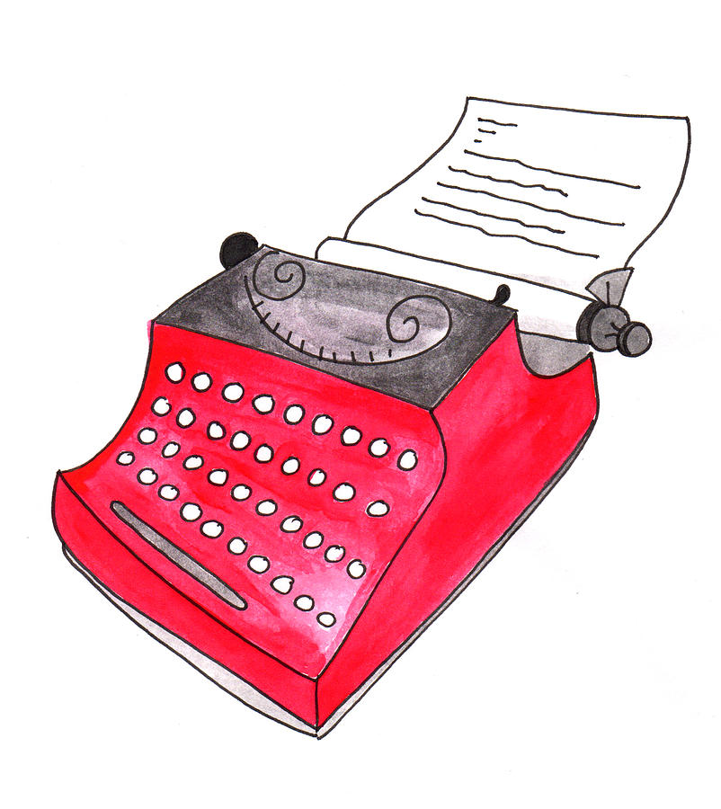 Artist Painting - The Red Typewriter by Anna Elkins