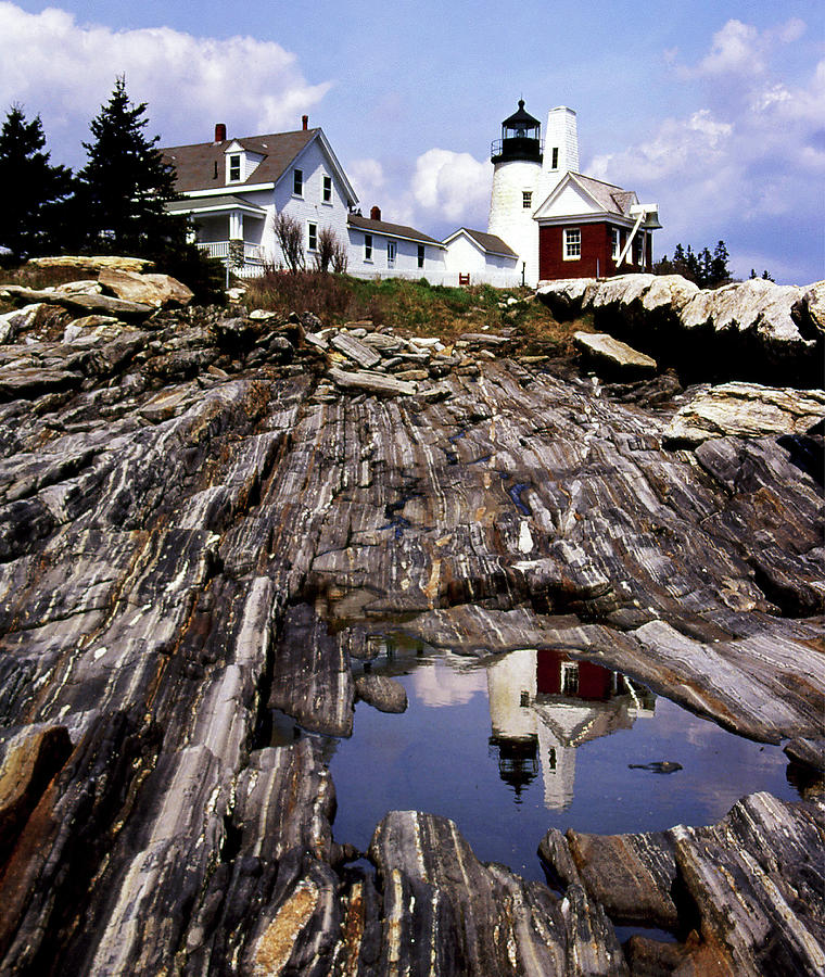 Lighthouses Photograph - The Reflection At Pemaquid by Skip Willits