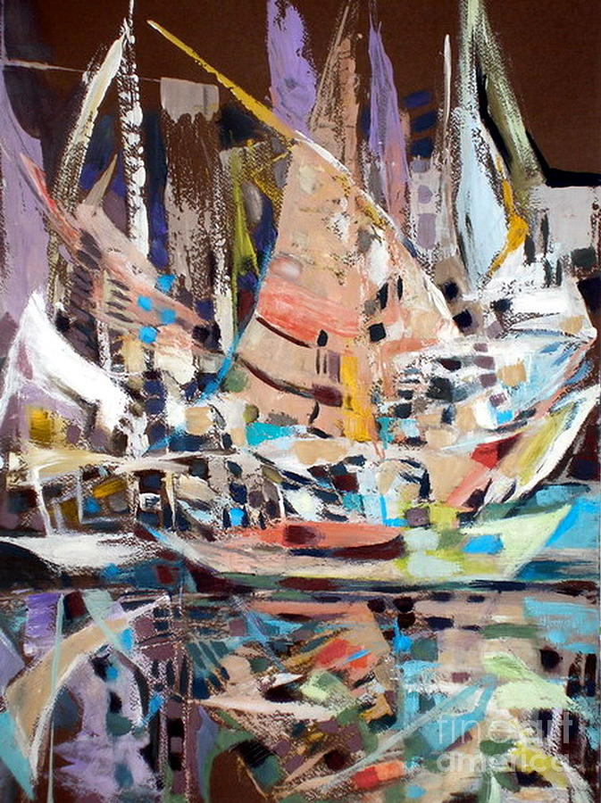 White Painting - The Reflection Of Boats by Therese AbouNader