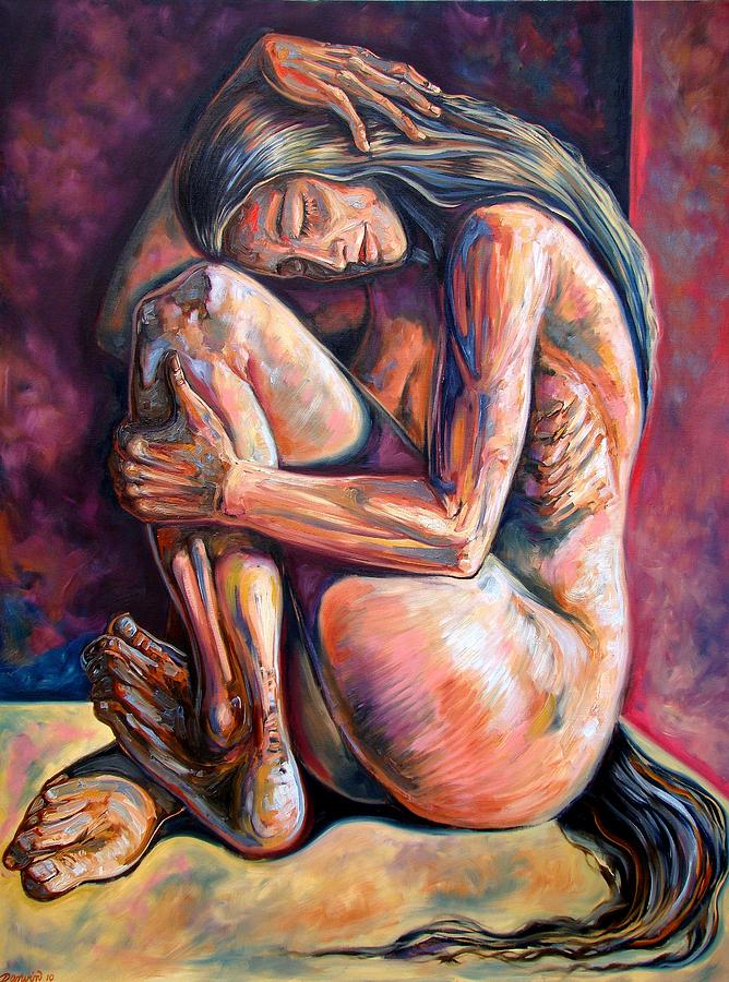 Figurative Painting - The Reflection Of The Long Hair Woman by Darwin Leon