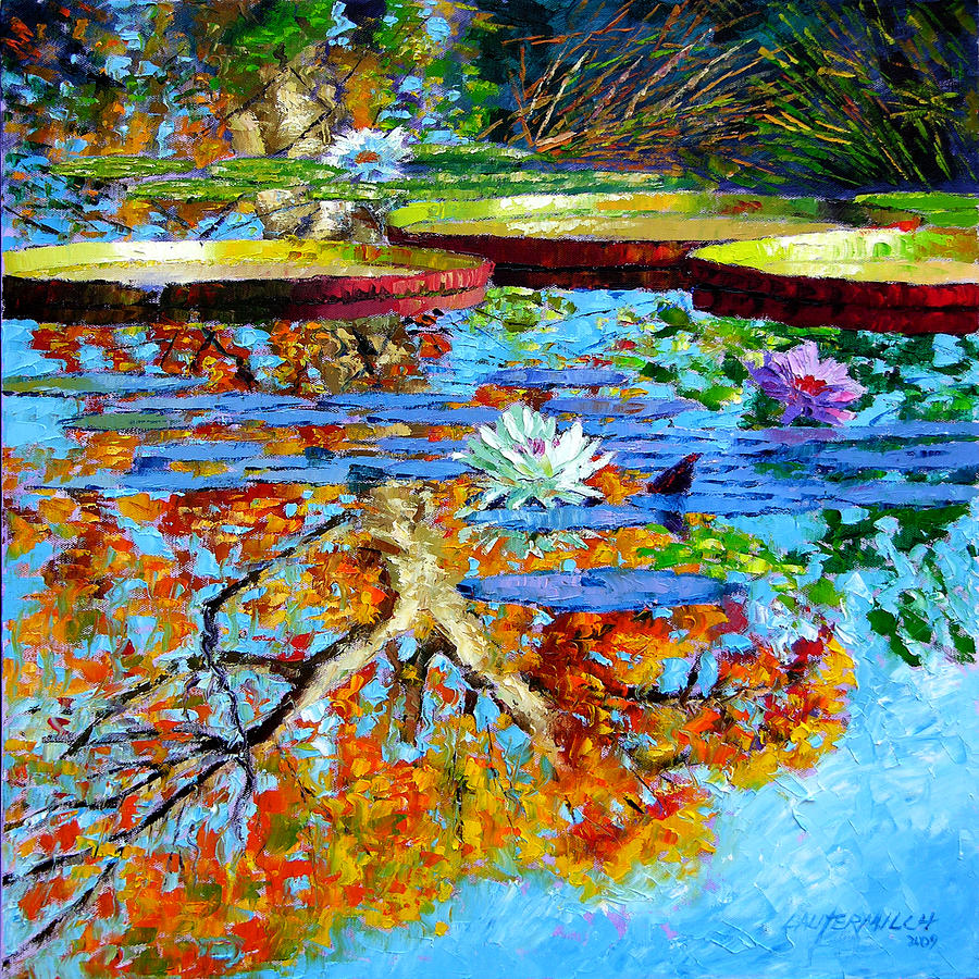 Fall Painting - The Reflections of Fall by John Lautermilch