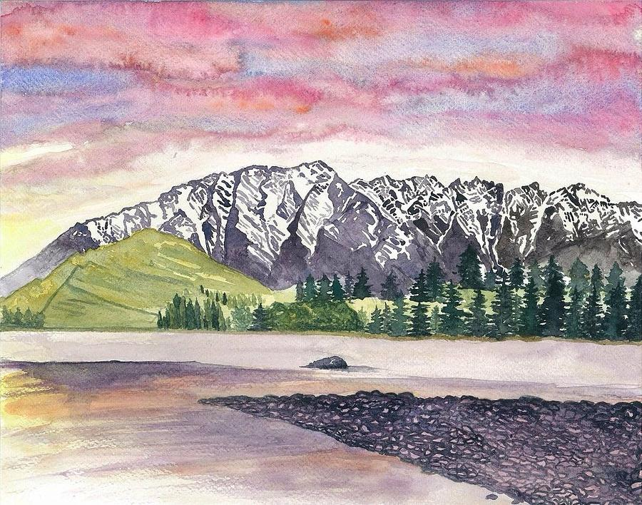 New Zealand Painting - The Remarkables  by Eva Lu