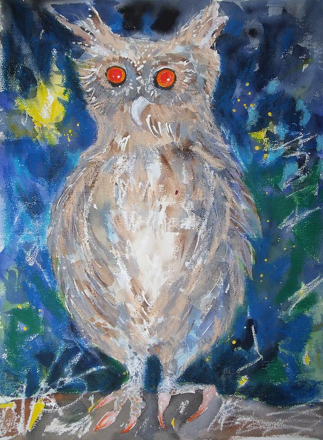 Owl Painting - The Rescued Baby Owl by June OConnell