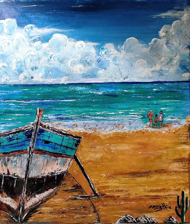 Boat Painting - The Resting Boat And The Beach Holidays by Neeraj Raina