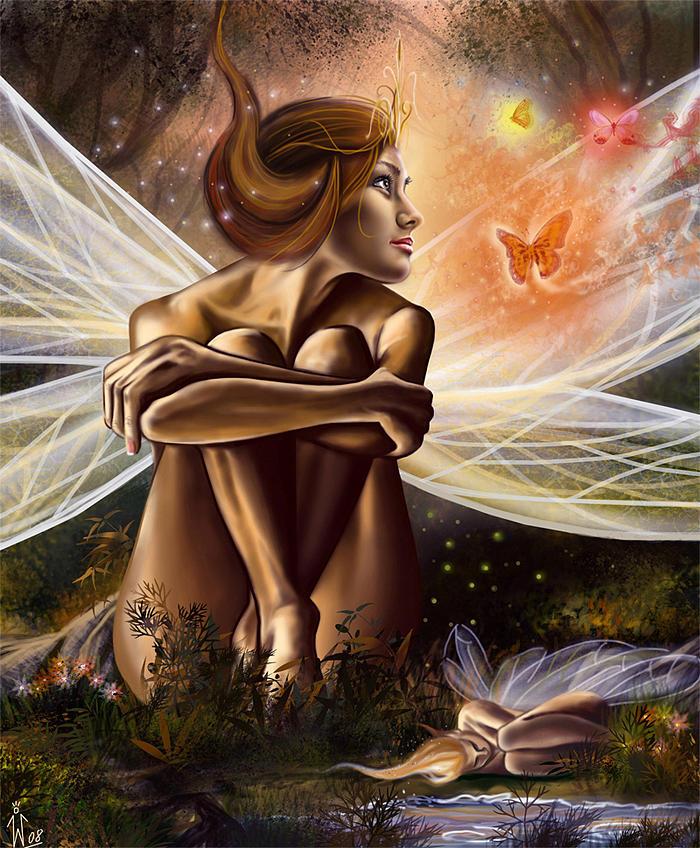 Fantasy Scene Painting - The Resting Fairies by Wirtuozo Maciej Zumirski
