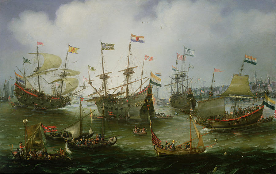 The Painting - The Return To Amsterdam Of The Second Expedition To The East Indies by Andries van Eertvelt
