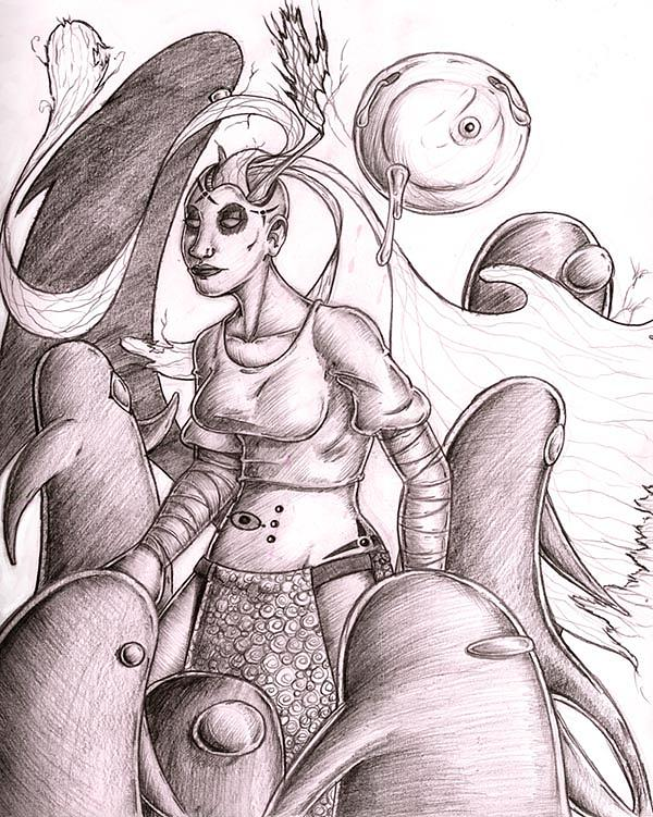 Female Drawing - The Reverse Flow Of Dreams by Grymm Grymmowski