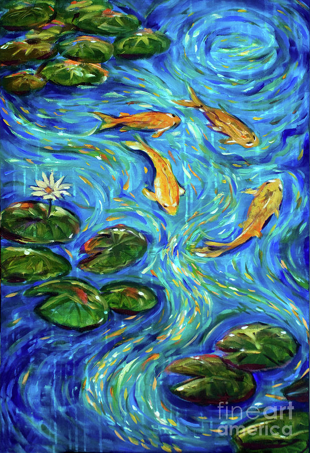 Koi Painting - The Rhythm of Life by Linda Olsen