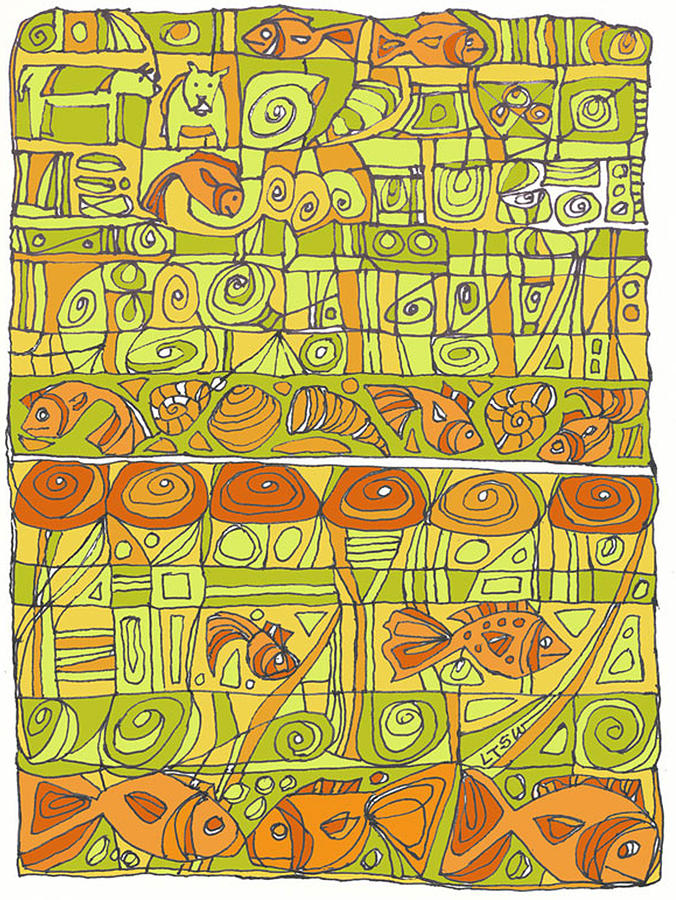 Green Drawing - The Rhythm Of Things by Linda Kay Thomas