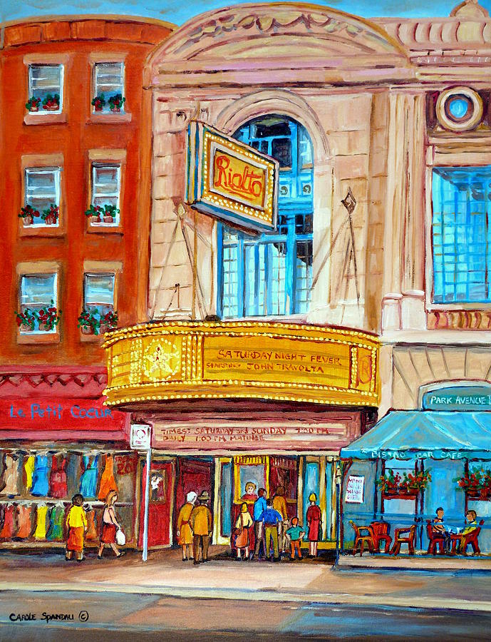 Montreal Painting - The Rialto Theatre Montreal by Carole Spandau