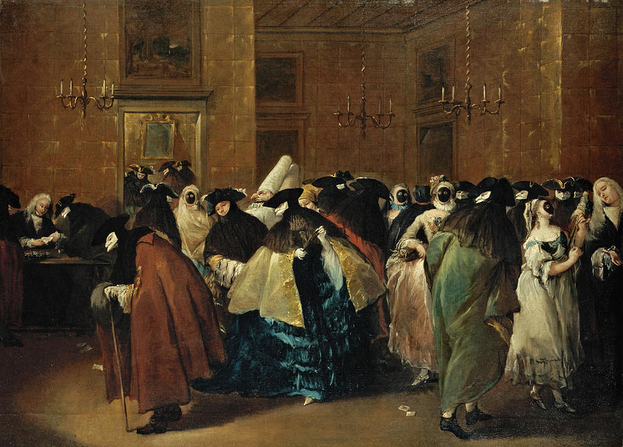 Francesco Guardi Painting - The Ridotto in Venice with Masked Figures Conversing by Francesco Guardi