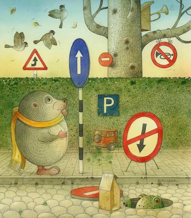 The Right-hand Hedgehog 02 Painting by Kestutis Kasparavicius